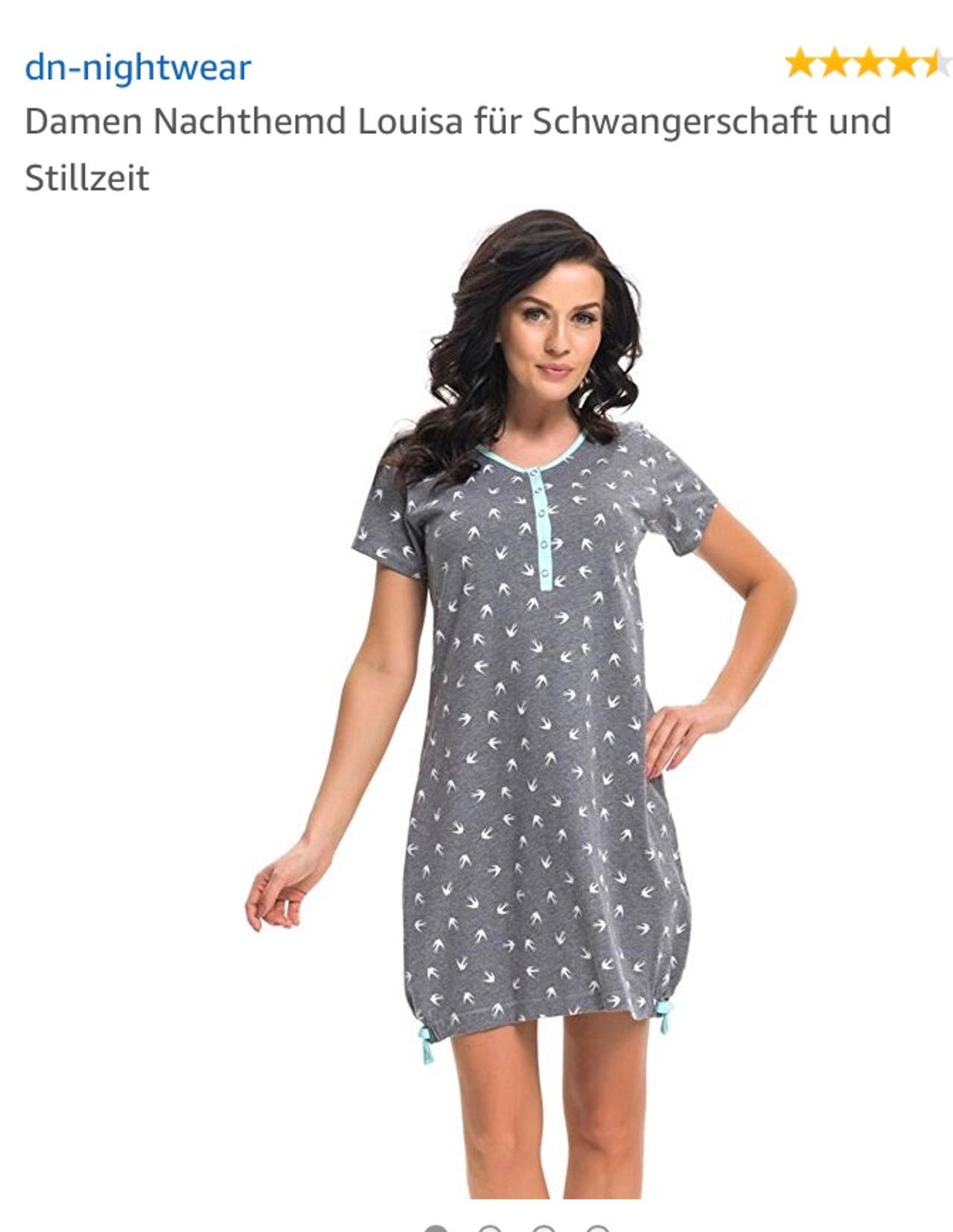 dn-nightwear Damen Nachthemd Louisa f/ür Schwangerschaft und Stillzeit