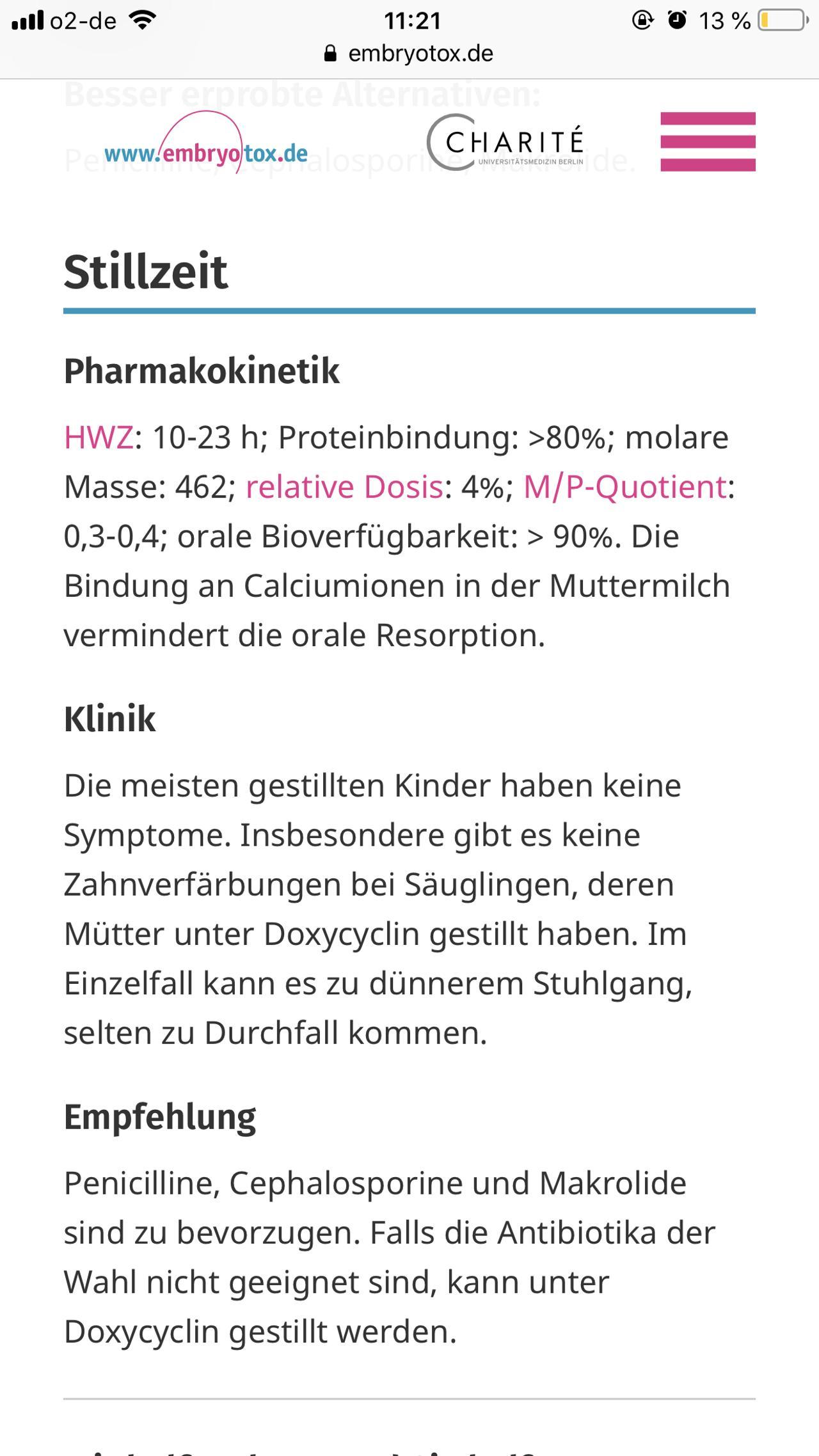 Doxycyclin In Stillzeit Forum Stillen Ernährung Urbiade