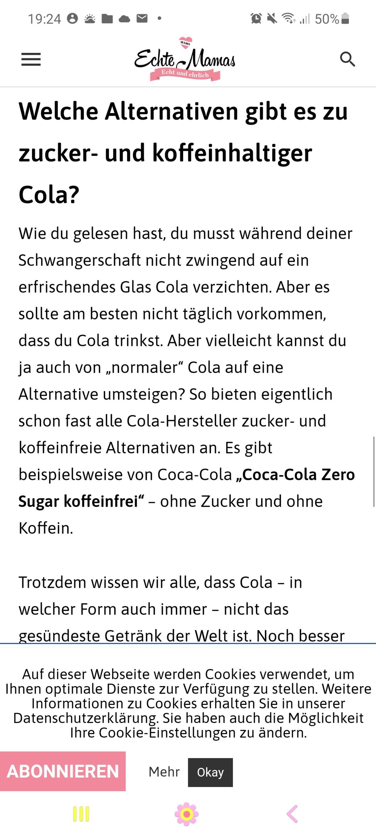 Cola Zero Schwangerschaft
